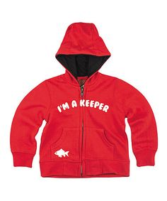 Look what I found on #zulily! Red 'I'm a Keeper' Zip-Up Hoodie - Infant #zulilyfinds