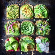 avocado toast 9 ways: mashed with oo/s/p + sliced with crushed red pepper + avo on avo + pickled onions lemon juice and zest + + micro sprouts + shaved avo ribbons on beet hummus + Thai basil lime juice and zest fried shallots + sliced plum radishes Avocado Toast, Mashed Avocado, Avocado Salad, Think Food, Love Food, Avocado Recipes, Vegan Recipes, Avocado Dessert, Beet Hummus
