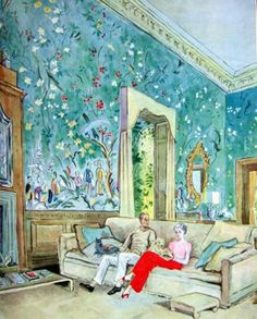 Mona and Harrison Williams in their Palm Beach living room - water color by Cecil Beaton