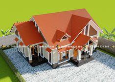 BIỆT THỰ 1 TẦNG MÃ SỐ BT1-058 - Công ty cổ phần tư vấn kiến trúc xây dựng Nhà Phương Đông Roof Styles, House Styles, Double Story House, Roof Paint, One Story Homes, Gable Roof, Home Design Plans, Living Room Kitchen, House Plans