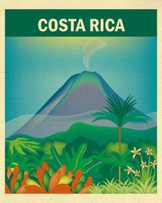 Costa Rica Art Costa Rica map Costa Rica Print by LoosePetals