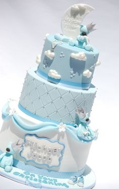 Christening/Baptism Cake with clouds, teddies, moon and stars. Would also be a cute Baby shower cake