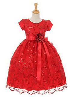 Let the festivities begin once your little princess enters the room in this fabulous dress. This holiday dress is simply exquisite and will transform your holiday pictures for sure. You will want to enlarge the picture to see all the pretty details throughout the style including the waist sash that is accented with a three dimensional flower. Because this is a holiday dress it will sell quickly for the season so make sure to get yours while they are in stock.