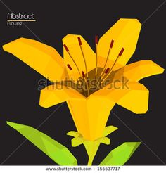 Abstract Orange Tiger Lily Flower in Low Poly Art Style -Vector Illustration by inbevel, via ShutterStock