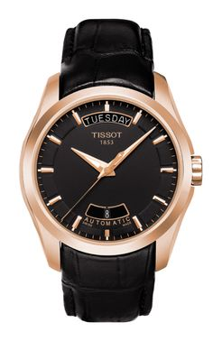 Men's Swiss Luxury wrist watch with Automatic movement from the Tissot Couturier Collection. Featuring a Round Stainless Steel with See-Through Casing case, with a Black Dial with Index Numerals, Scratch-Resistant Sapphire Crystal glass, and a Black Stylish Watches, Luxury Watches For Men, Cool Watches, Men's Watches, Black Watches, Dress Watches, Emporio Armani, Daniel Wellington, Swiss Watch Brands