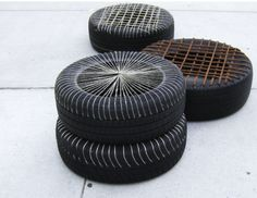 Happy Hardcore is the name given to seating cushions made out old tires.  This is the work and creative genius of Fernanda Fajardo who has tried to give the tough tire a new lease of life by weaving the hollow surface with a fiber thread to create a seati