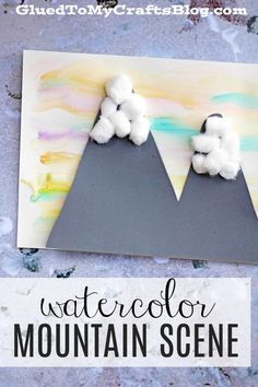 Watercolor Snowy Mountain Scene Kid Craft is part of Cute Kids Crafts Children - Beautiful Watercolor Snowy Mountain Scene Kid Craft Mountain Crafts For Kids, Winter Crafts For Kids, Winter Kids, Summer Crafts, Beach Crafts, Summer Diy, Cute Kids Crafts, K Crafts, Travel Crafts