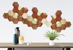 Bee Apis set of 48 wooden tiles for wall decor / Cedar wood + Gold leaf tiles