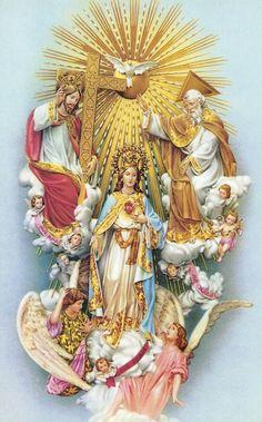 Santísima trinidad de el Padre, el Hijo, y el Espíritu Santo, con la Madre del Hijo de Dios, la Santísima Vírgen María, Reina del Cielo.