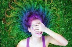 girl girls colored dyed rainbow blue green seapunk sea punk hair