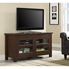 Walker Edison Wood TV Stand for TV's up to 48 inch - Traditional Brown Console Storage, Tv Stand Console, Ikea Stand, Tv Stand And Entertainment Center, Entertainment Units, Tv Media Stands, Black Tv Stand, Cool Tv Stands, Flat Panel Tv