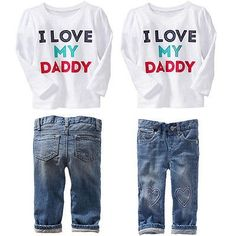 2PCS Baby Boys Girls Toddler Suit Long Sleeve T-Shirt   Denim Pants Clothing Set