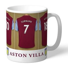 One of our best-selling Aston Villa FC gifts of all time, this personalised dressing room mug is the ultimate must-have for any Aston Villa FC fan. Fully licensed and approved by Aston Villa FC themselves, you can be assured of quality and authent. Aston Villa Team, Dressing Room Design, Gifts For Sports Fans, Personalized Gifts, Best Gifts, Ceramics, Mugs, Tableware, Collections