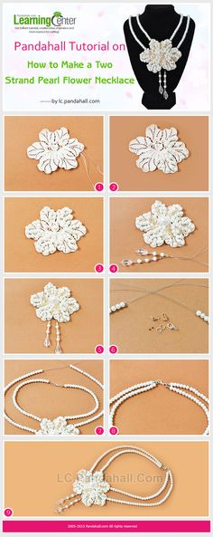Pandahall Tutorial on How to Make a Two Strand Pearl Flower Necklace