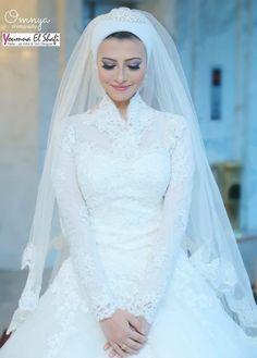 Wedding Hijab Styles, Muslim Wedding Dresses, Bridal Dresses, Muslim Brides, Beautiful Wedding Gowns, Elegant Wedding Dress, Modest Wedding, Muslim Wedding Gown, Bridal Hijab