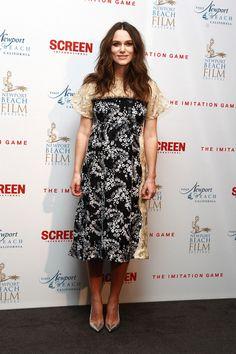 Keira at the Imitation Game Oscar Members Screening dressed in a Michael van der Ham custom dress.