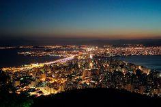 Vista noturna do Centro de Floripa  - Florianópolis, SC