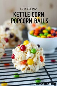 Amazingly easy popcorn balls made with kettle corn and skittles! Kids will love these Rainbow Kettle Corn Popcorn Balls Appetizer Recipes, Snack Recipes, Dessert Recipes, Cooking Recipes, Appetizers, Perfect Popcorn, Best Popcorn, Popcorn Recipes, Candy Recipes
