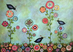 Three Black Birds Folk Art Flowers Karla by KarlaGerardFolkArt - I like the idea, but would simplify the flowers.