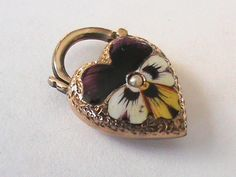 Victorian 9k Gold Enamel Pansy Heart Padlock..