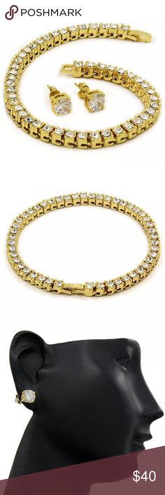 """14K Gold Plated Earring And Bracelet Set Bracelet Length- 8.5"""" Inches     Bracelet Width- 8mm STONES - ROUND CRYSTAL CUT  OVER 40+ CRYSTALS   AND FREE EARRING   The chain is just simply superior quality- the stones are FLAWLESS   and the finish is GUARANTEED TO LAST. Jewelry Bracelets"""