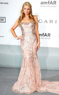 Paris Hilton steps out in a glamorous pink gown.