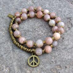 Independence and Joy, Sunstone 27 bead mala wrap bracelet (54)