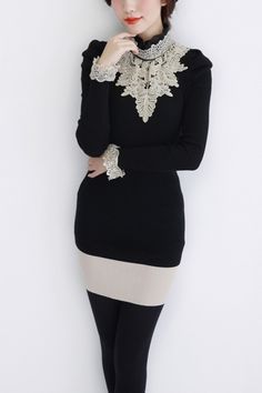 Lace trimmed ruffle collar sweater <3