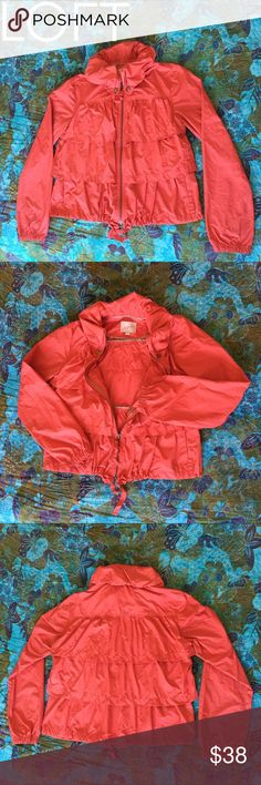 🎉 SALE ❤️ Loft Light Jacket 💙 Awesome Loft Wind Breaker Style Jacket. Really a cool take on a normally plain jacket type. Check out the way the collar gathers! 😍Orange coral type color, Gently loved. LOFT Jackets & Coats