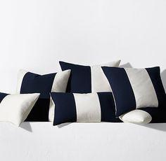 Sunbrella® Modern Colorblock Pillow Cover -  Navy
