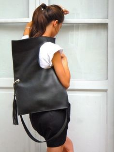 Black Leather Square bag by HomemadeBags on Etsy, $175.00