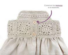 Vestido Granny Squares de Bebé combinado con Tela, Granny Squares Baby Dress combined with Fabric, Crochet Toddler, Crochet Girls, Crochet For Kids, Crochet Baby, Baby Knitting Patterns, Baby Patterns, Dress Patterns, Crochet Patterns, Coat Patterns