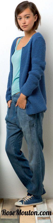Gilet tricoté en fil Presto de Lang Yarns https://www.rosemouton.com/lang-yarns-kit-gilet-47-218-2422.html #rosemouton #gilet #langyarns #tricot #knit #knitting