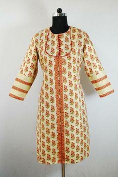 Angrakha Floral Printed Formal Kurti, Angrakha style formal kurti, Semi silk material, Long kurti.