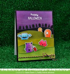 Lawn Fawn - Monster Mash + coordinating dies, Spooktacular, Stitched Hillside Borders, Forest Border, Spooky Lawn Trimmings _ card by Kelly for Lawn Fawn Design Team