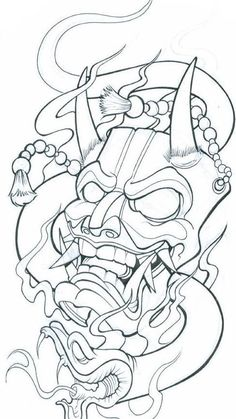 Demon Mask Tattoo Designs Chinese mask tattoo meaning Mascara Samurai Tattoo, Mascara Hannya, Tattoo Design Drawings, Tattoo Sketches, Drawing Sketches, Tattoo Outline Drawing, Japan Tattoo Design, Tatoo Designs, Drawing Ideas