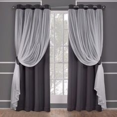 Amalgamated Textiles Catarina Sand (Brown) Layered Solid Blackout and Sheer Grommet Top Window Curtain Exclusive Home Catarina Layered Solid Blackout and Sheer Grommet Top Curtain Panel Pair Black Sheer Curtains, Layered Curtains, Sheer Curtain Panels, Panel Curtains, Black And Silver Curtains, Black Out Curtains Bedroom, Grommet Curtains, Blue Bedroom, Master Bedroom