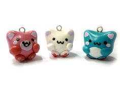 Set of 3 kawaii cat charms - polymer clay. $7.00, via Etsy.