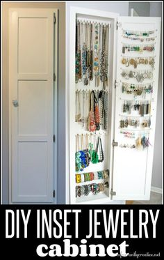 Inset Jewelry Cabinet Part Organizing the Jewelry DIY-Schmuckschrank The post Eingebauter Schmuckschrank Teil Organisation des Schmucks appeared first on Farina Page. Diy Jewelry Cabinet, Jewellery Storage, Jewellery Display, Hidden Jewelry Storage, Necklace Storage, Body Jewellery, Diy Storage, Jewelry Organization, Home Organization