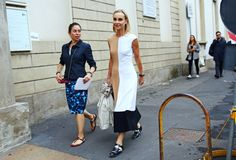 (left) Erdem skirt; (right) Michael Kors dress and Tod's shoes Street Style: Milan Fashion Week Spring 2015