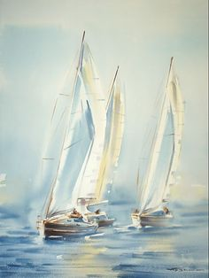 Константин Кузема Canvas Painting Landscape, Seascape Paintings, Watercolor Landscape, Landscape Art, Watercolor Paintings, Watercolours, Sailboat Art, Sailboat Painting, Sailboats