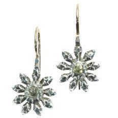 Victoriaanse oorhangers met roosgeslepen diamanten - 1830