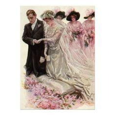 Marié vintage de jeune mariée, cérémonie de mariag faire-parts
