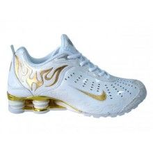 Nike Shox R4 Torch mens shoes white gold