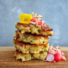 Cauliflower & Ricotta Fritters with Radish Salad (fritters made with…
