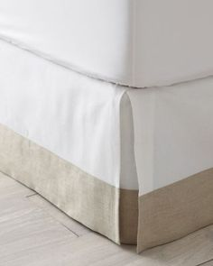 "Linen-Trimmed Box-Pleated Bedskirt               garnet hill 18"" $128 also comes 14"" white cotton and natural linen"