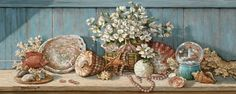 Janet Kruskamp's Paintings - Sea Shell Collection I, an original oil painting of a wooden shelf holding a sea shell collection against a light blue wooden wall. A basket with a large bouquet of white flowers is surrounded by scallop, abalone, turban, whelk shells as well as a piece of coral. An artificial tropical fish swims in front of a display on the left. A snowglobe of a lighthouse sites on the left as a single strand of small pink shells weaves around a sand dollar in the center. One…