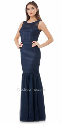 Satin Piped Mesh Evening Dress by JS Collections #edressme