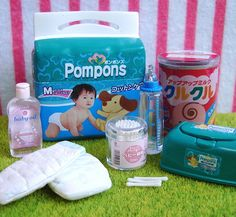 Re-ment / Rement / R-M Miniature Toys : Drugstore #9 / Baby Nappies / Green Nappy / Diapers / Milk Bottle / Cotton Swabs Buds by HarapekoDoggyBag, via Flickr