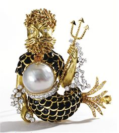 Poseidon Brooch, David Webb (American) 1925–1975 An 18 Karat gold figure applied with black enamel, the belly set with a baroque cultured pearl measuring approximately 18.2 by 17.5 mm., and set with round diamonds (approximately 3.00 carats), and pear-shaped yellow sapphires.........